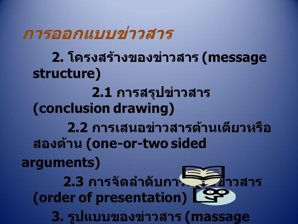 การออกแบบข่าวสาร 2. โครงสร้างของข่าวสาร (message structure) 2.1 การสรุปข่าวสาร (conclusion drawing) 2.2 การเสนอข่าวสารด้านเดียวหรือ สองด้าน (one-or-tw