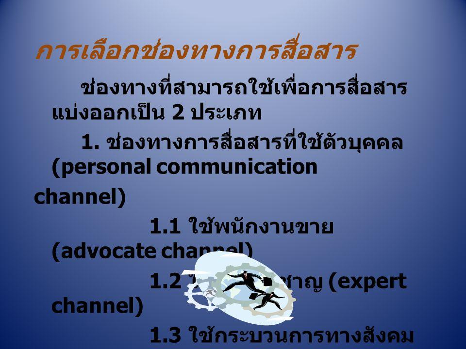 การเลือกช่องทางการสื่อสาร ช่องทางที่สามารถใช้เพื่อการสื่อสาร แบ่งออกเป็น 2 ประเภท 1. ช่องทางการสื่อสารที่ใช้ตัวบุคคล (personal communication channel)