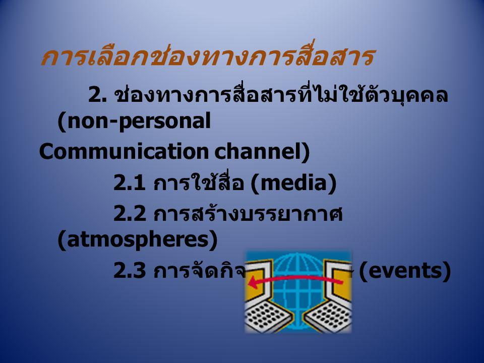 การเลือกช่องทางการสื่อสาร 2. ช่องทางการสื่อสารที่ไม่ใช้ตัวบุคคล (non-personal Communication channel) 2.1 การใช้สื่อ (media) 2.2 การสร้างบรรยากาศ (atmo