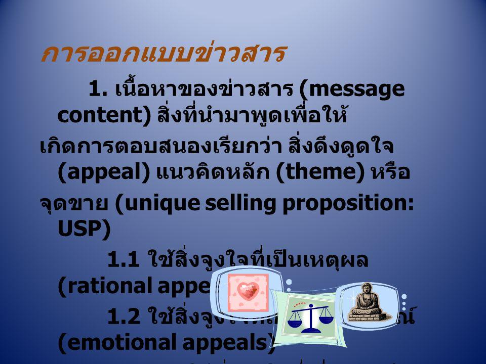 การออกแบบข่าวสาร 1. เนื้อหาของข่าวสาร (message content) สิ่งที่นำมาพูดเพื่อให้ เกิดการตอบสนองเรียกว่า สิ่งดึงดูดใจ (appeal) แนวคิดหลัก (theme) หรือ จุ