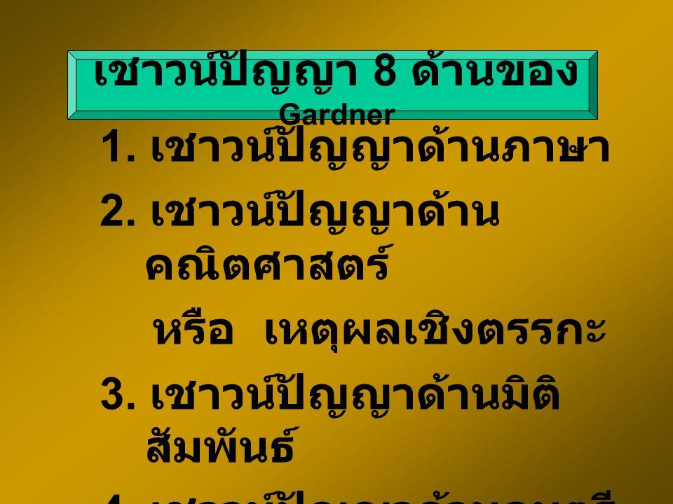 เชาวน์ปัญญา 8 ด้านของ Gardner 1.เชาวน์ปัญญาด้านภาษา 2.