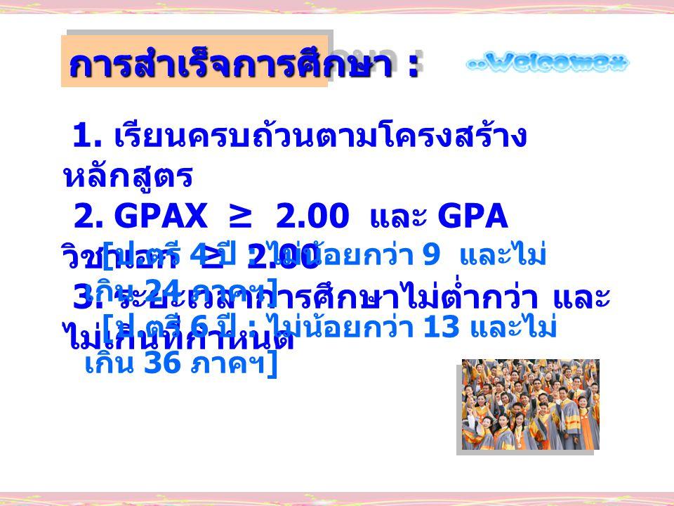 1. เรียนครบถ้วนตามโครงสร้าง หลักสูตร 2. GPAX ≥ 2.00 และ GPA วิชาเอก ≥ 2.00 3. ระยะเวลาการศึกษาไม่ต่ำกว่า และ ไม่เกินที่กำหนด การสำเร็จการศึกษา : [ ป.