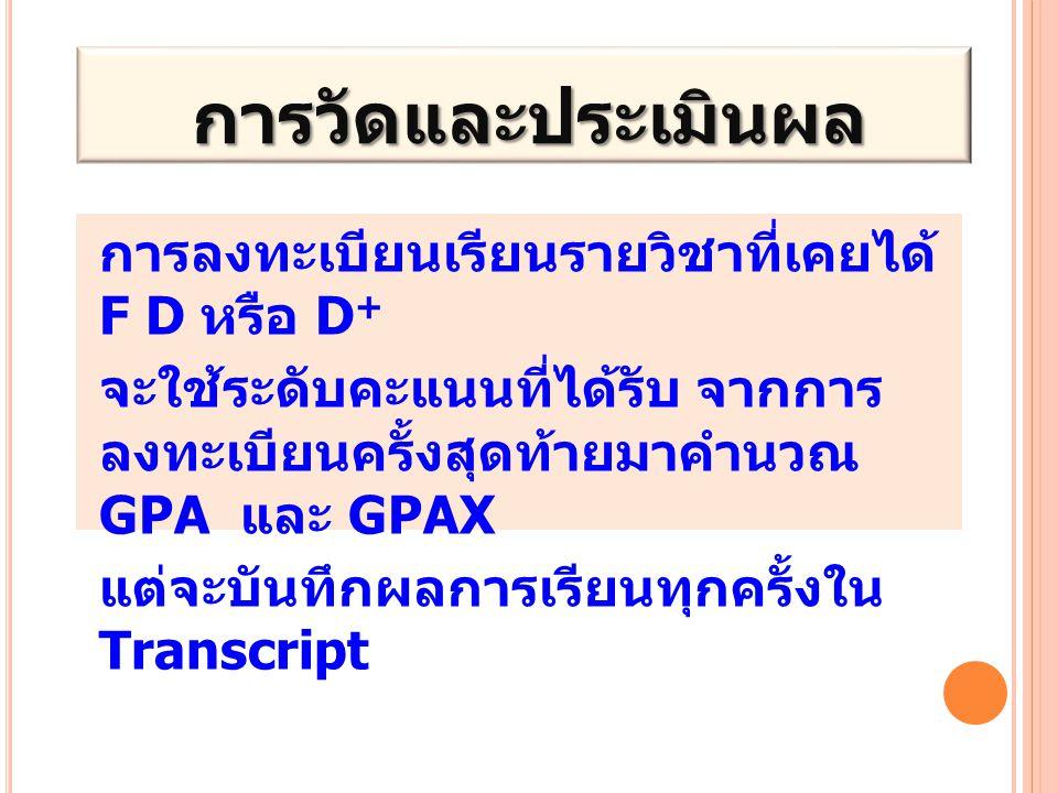 การวัดและประเมินผล การวัดและประเมินผล การลงทะเบียนเรียนรายวิชาที่เคยได้ F D หรือ D + จะใช้ระดับคะแนนที่ได้รับ จากการ ลงทะเบียนครั้งสุดท้ายมาคำนวณ GPA และ GPAX แต่จะบันทึกผลการเรียนทุกครั้งใน Transcript