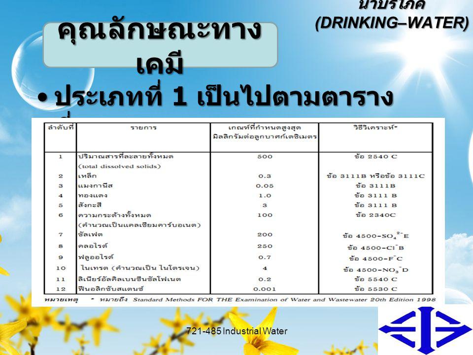 น้ำบริโภค (DRINKING–WATER) ประเภทที่ 1 เป็นไปตามตาราง ที่ 1 ประเภทที่ 1 เป็นไปตามตาราง ที่ 1 721-485 Industrial Water9 คุณลักษณะทาง เคมี