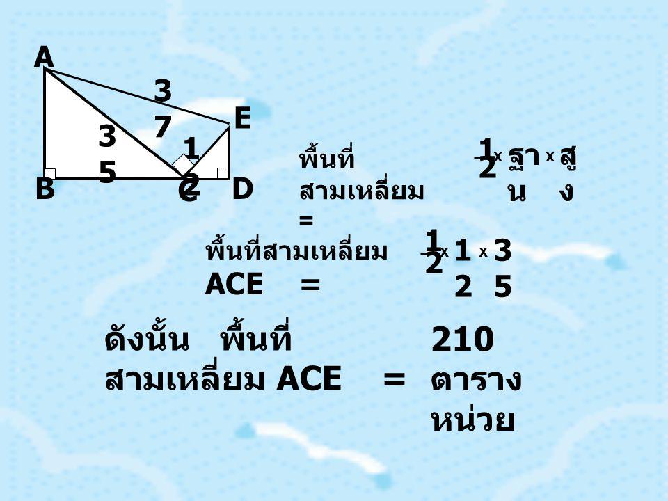 B E D C A 3737 3535 1212 พื้นที่ สามเหลี่ยม = 1 2 x ฐา น สู ง x พื้นที่สามเหลี่ยม ACE = 1 2 x 1212 3535 x ดังนั้น พื้นที่ สามเหลี่ยม ACE = 210 ตาราง หน่วย
