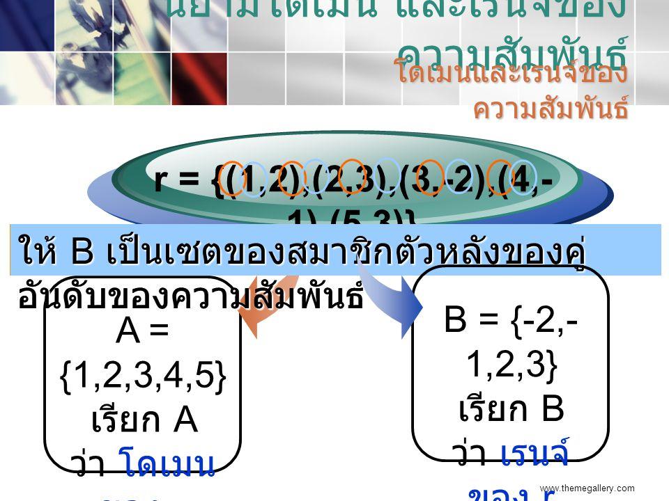 www.themegallery.com นิยามโดเมน และเรนจ์ของ ความสัมพันธ์ โดเมนและเรนจ์ของ ความสัมพันธ์ A = {1,2,3,4,5} เรียก A ว่า โดเมน ของ r r = {(1,2),(2,3),(3,-2),(4,- 1),(5,3)} ให้ A เป็นเซตของสมาชิกตัวหน้าของคู่ อันดับของความสัมพันธ์ r ให้ B เป็นเซตของสมาชิกตัวหลังของคู่ อันดับของความสัมพันธ์ r B = {-2,- 1,2,3} เรียก B ว่า เรนจ์ ของ r