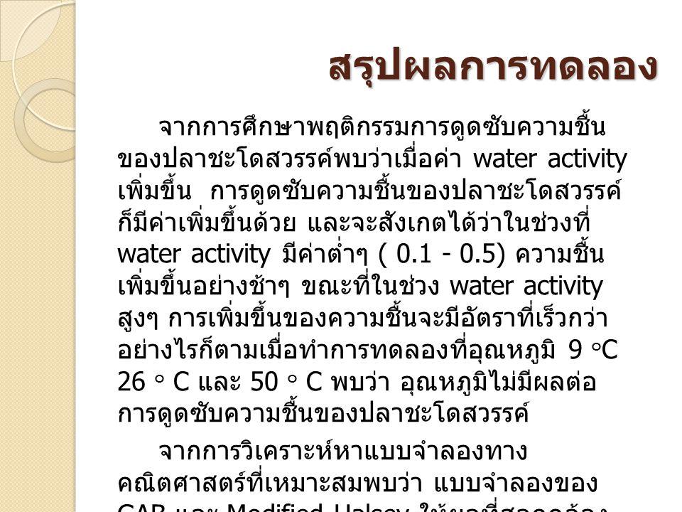 สรุปผลการทดลอง จากการศึกษาพฤติกรรมการดูดซับความชื้น ของปลาชะโดสวรรค์พบว่าเมื่อค่า water activity เพิ่มขึ้น การดูดซับความชื้นของปลาชะโดสวรรค์ ก็มีค่าเพิ่มขึ้นด้วย และจะสังเกตได้ว่าในช่วงที่ water activity มีค่าต่ำๆ ( 0.1 - 0.5) ความชื้น เพิ่มขึ้นอย่างช้าๆ ขณะที่ในช่วง water activity สูงๆ การเพิ่มขึ้นของความชื้นจะมีอัตราที่เร็วกว่า อย่างไรก็ตามเมื่อทำการทดลองที่อุณหภูมิ 9 ๐ C 26 ๐ C และ 50 ๐ C พบว่า อุณหภูมิไม่มีผลต่อ การดูดซับความชื้นของปลาชะโดสวรรค์ จากการวิเคราะห์หาแบบจำลองทาง คณิตศาสตร์ที่เหมาะสมพบว่า แบบจำลองของ GAB และ Modified Halsey ให้ผลที่สอดคล้อง กับการทดลองมากที่สุด