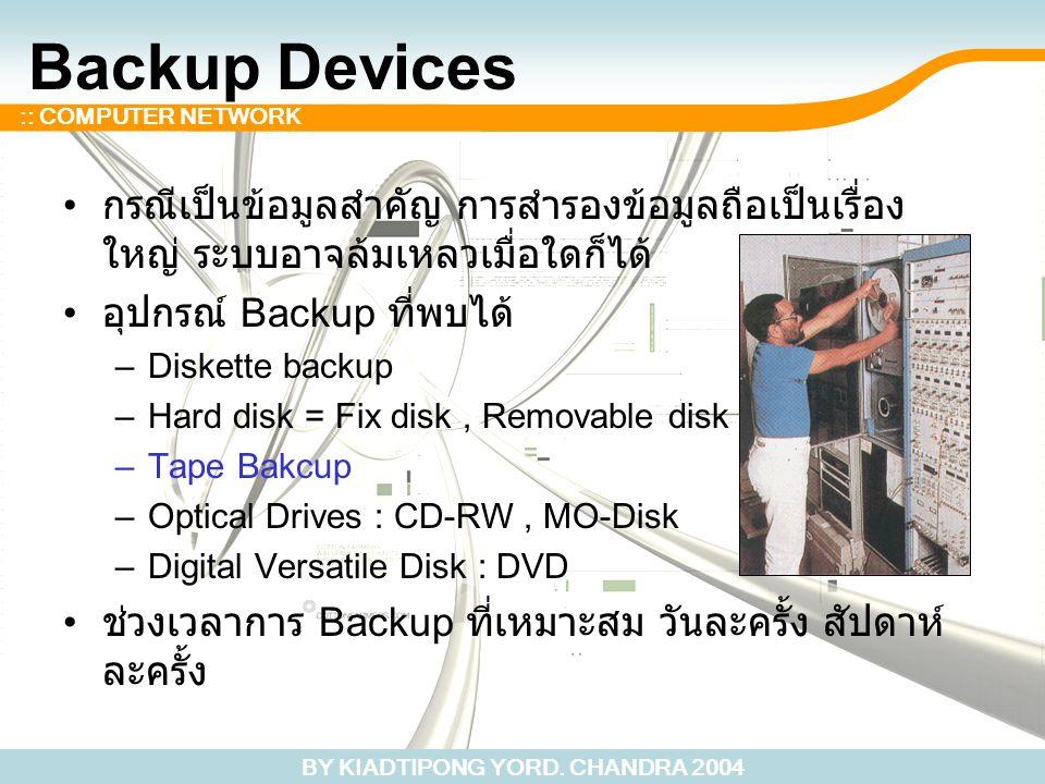 BY KIADTIPONG YORD. CHANDRA 2004 :: COMPUTER NETWORK Backup Devices กรณีเป็นข้อมูลสำคัญ การสำรองข้อมูลถือเป็นเรื่อง ใหญ่ ระบบอาจล้มเหลวเมื่อใดก็ได้ อุ