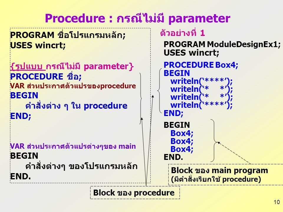 9  การเขียนโปรแกรมย่อยที่มีการส่งผ่านพารามิเตอร์ต้องเพิ่มสิ่ง ต่อไปนี้ –ในส่วนหัวของโปรแกรมย่อยต้องเพิ่มการกำหนดชื่อและ ชนิดข้อมูลของตัวแปรที่ทำหน้าท