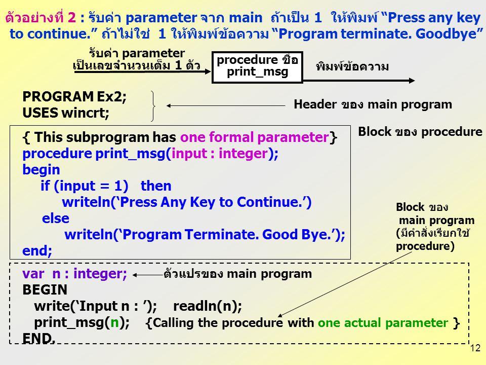 11 PROCEDURE ชื่อ(formal parameters); PROCEDURE MyProc(var x:real; n:integer); VAR n,m:integer; z:real; BEGIN คำสั่งต่างๆ ใน procedure… END; Formal pa