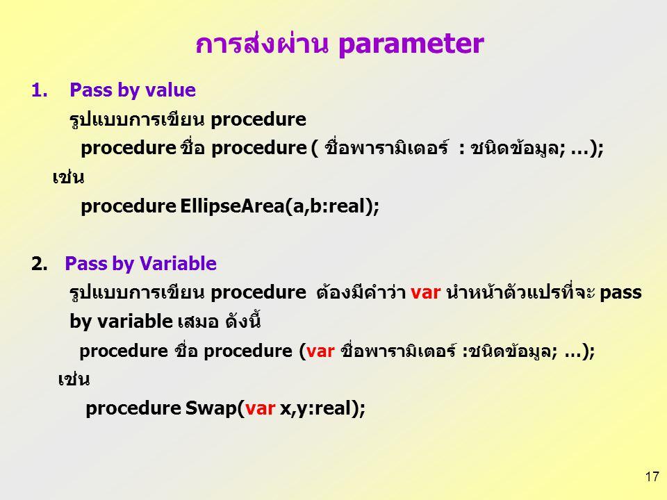 16 1.การส่งผ่านพารามิเตอร์แบบส่งค่า (Pass by value) เป็นการส่งผ่านค่า (value) ของ actual parameter ให้แก่ formal parameter หากมีการเปลี่ยนแปลงค่าของ f