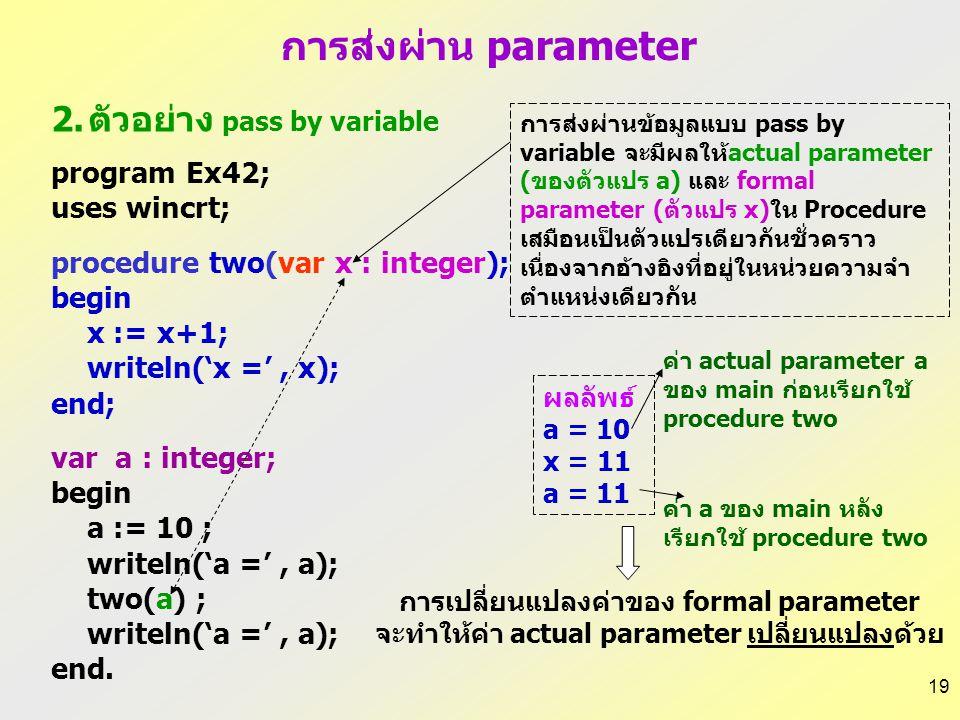 18 1.ตัวอย่าง pass by value program Ex41; uses wincrt; procedure one(x : integer); begin x := x+1; writeln('x =', x); end; var a : integer; begin a :=