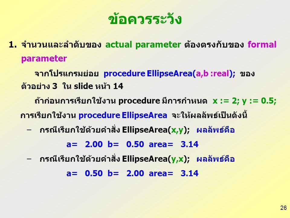 25 1.Pass by value program Ex61; uses wincrt; var x,y : integer; procedure Swap(a, b:integer); var temp:integer; begin temp := a; a := b; b := temp; e