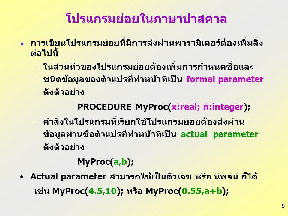 9  การเขียนโปรแกรมย่อยที่มีการส่งผ่านพารามิเตอร์ต้องเพิ่มสิ่ง ต่อไปนี้ –ในส่วนหัวของโปรแกรมย่อยต้องเพิ่มการกำหนดชื่อและ ชนิดข้อมูลของตัวแปรที่ทำหน้าที่เป็น formal parameter ดังตัวอย่าง PROCEDURE MyProc(x:real; n:integer); –คำสั่งในโปรแกรมที่เรียกใช้โปรแกรมย่อยต้องส่งผ่าน ข้อมูลผ่านชื่อตัวแปรที่ทำหน้าที่เป็น actual parameter ดังตัวอย่าง MyProc(a,b); Actual parameter สามารถใช้เป็นตัวเลข หรือ นิพจน์ ก็ได้ เช่น MyProc(4.5,10); หรือ MyProc(0.55,a+b); โปรแกรมย่อยในภาษาปาสคาล