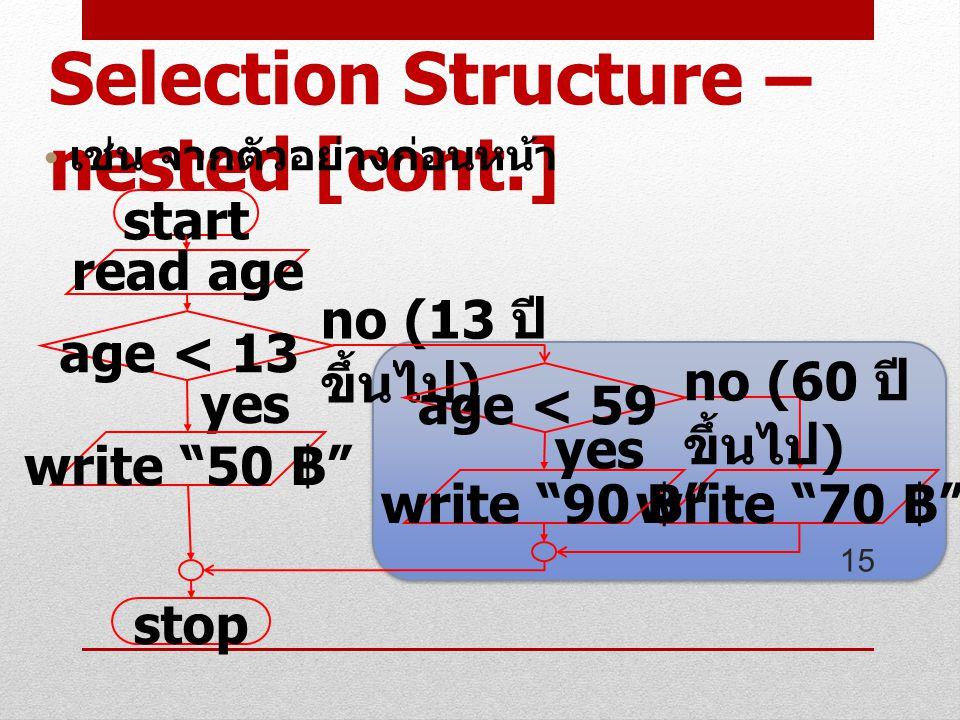 15 start read age age < 13 stop no (13 ปี ขึ้นไป ) yes write 50 ฿ write 70 ฿ age < 59 write 90 ฿ no (60 ปี ขึ้นไป ) yes Selection Structure – nested [cont.] เช่น จากตัวอย่างก่อนหน้า