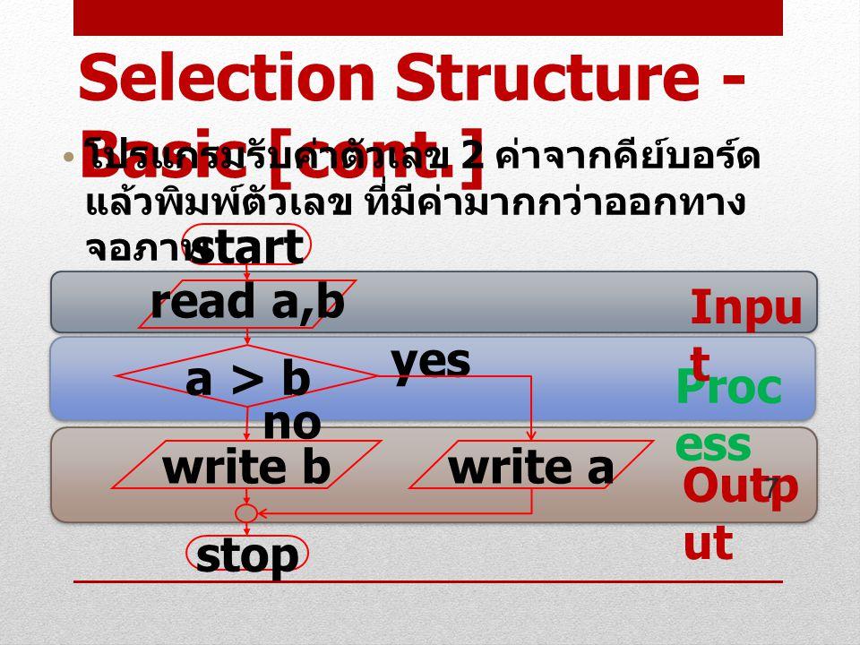 Selection Structure – nested [cont.] เขียนโฟลชาร์ตเพื่อพิมพ์ตัวเลขที่มีค่าน้อย ที่สุดจากตัวเลขจำนวน 3 ตัวที่ได้รับจากผู้ใช้ ( สมมุติให้ตัวเลขทั้ง 3 ตัวที่ผู้ใช้กรอกมีค่าไม่ เท่ากัน ) จากตัวอย่างข้างบน ให้ปรับแก้ไขโฟลชาร์ต เพื่อพิมพ์ตัวเลขทั้ง 3 เรียงกันตามลำดับจาก น้อยไปหามาก 18