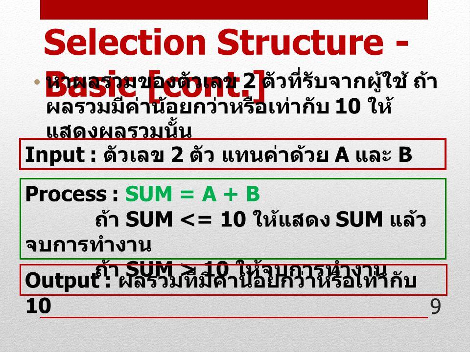 9 Selection Structure - Basic [cont.] หาผลรวมของตัวเลข 2 ตัวที่รับจากผู้ใช้ ถ้า ผลรวมมีค่าน้อยกว่าหรือเท่ากับ 10 ให้ แสดงผลรวมนั้น Input : ตัวเลข 2 ตัว แทนค่าด้วย A และ B Process : SUM = A + B ถ้า SUM <= 10 ให้แสดง SUM แล้ว จบการทำงาน ถ้า SUM > 10 ให้จบการทำงาน Output : ผลรวมที่มีค่าน้อยกว่าหรือเท่ากับ 10