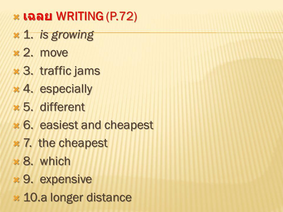  รับ sheet หน้า 73-74  เขียนเรื่องสั้น เรื่อง Getting around in Bangkok จากข้อมูลที่ให้ไว้ใน sheet  โดยเลือกนำเสนอการเดินทางที่ตนเองชอบ รวมทั้งบอก good point และ bad point จากใน sheet หรือตามความคิดของนักเรียนเอง เขียนลงกระดาษเปล่า โดยขึ้นต้นตามแบบ หน้า 74  เมื่อเขียนเสร็จแล้วให้แปลเนื้อเรื่องที่นักเรียน เขียนเป็นภาษาไทย  งานพิเศษ 8… แปลรูปทรงผมเป็นไทย