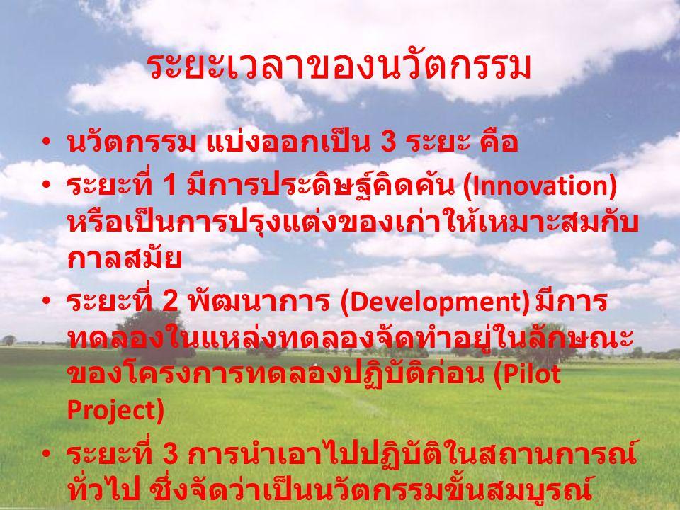 ระยะเวลาของนวัตกรรม นวัตกรรม แบ่งออกเป็น 3 ระยะ คือ ระยะที่ 1 มีการประดิษฐ์คิดค้น (Innovation) หรือเป็นการปรุงแต่งของเก่าให้เหมาะสมกับ กาลสมัย ระยะที่ 2 พัฒนาการ (Development) มีการ ทดลองในแหล่งทดลองจัดทำอยู่ในลักษณะ ของโครงการทดลองปฏิบัติก่อน (Pilot Project) ระยะที่ 3 การนำเอาไปปฏิบัติในสถานการณ์ ทั่วไป ซึ่งจัดว่าเป็นนวัตกรรมขั้นสมบูรณ์