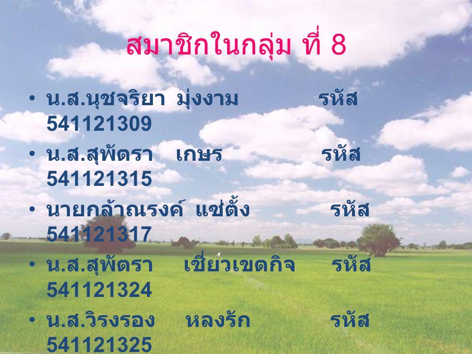 สมาชิกในกลุ่ม ที่ 8 น. ส. นุชจริยา มุ่งงาม รหัส 541121309 น.