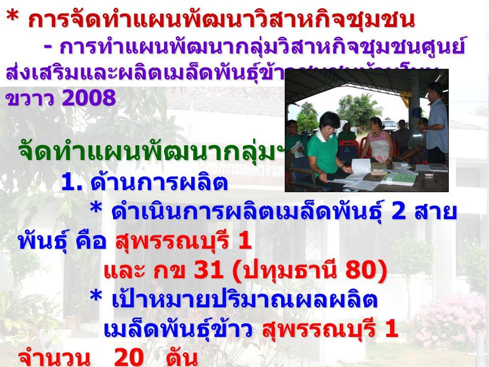 * การจัดทำแผนพัฒนาวิสาหกิจชุมชน - การทำแผนพัฒนากลุ่มวิสาหกิจชุมชนศูนย์ ส่งเสริมและผลิตเมล็ดพันธุ์ข้าวชุมชนบ้านโนน ขวาว 2008 - การทำแผนพัฒนากลุ่มวิสาหก