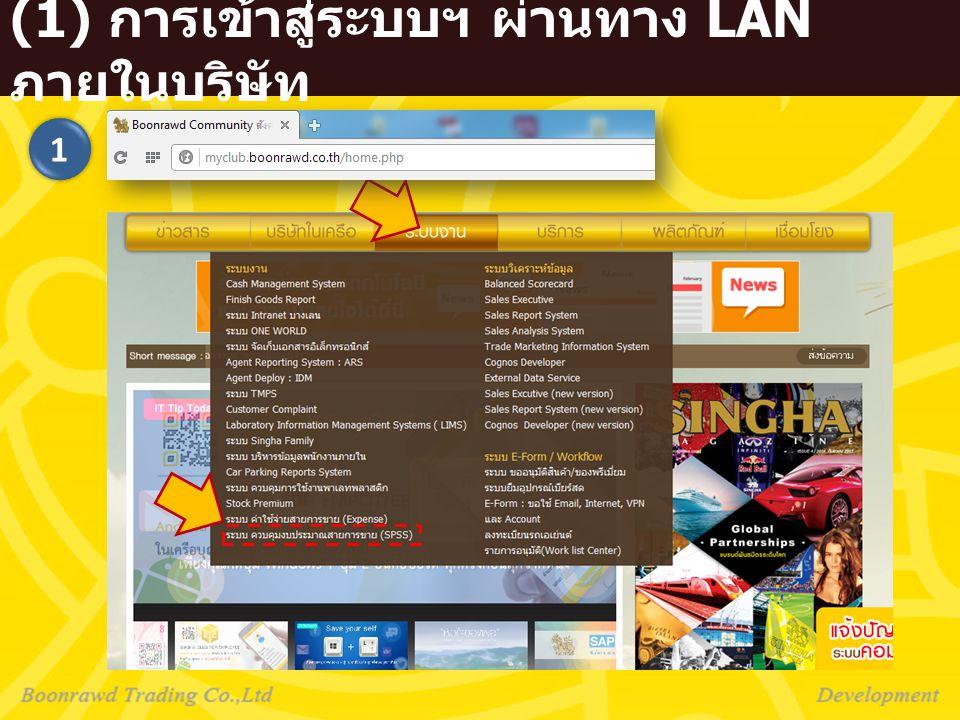 (2) การเข้าสู่ระบบฯ ผ่านทาง Internet ภายนอกบริษัท 2 url : portal.ssl.boonrawd.co.th เหมือน Email