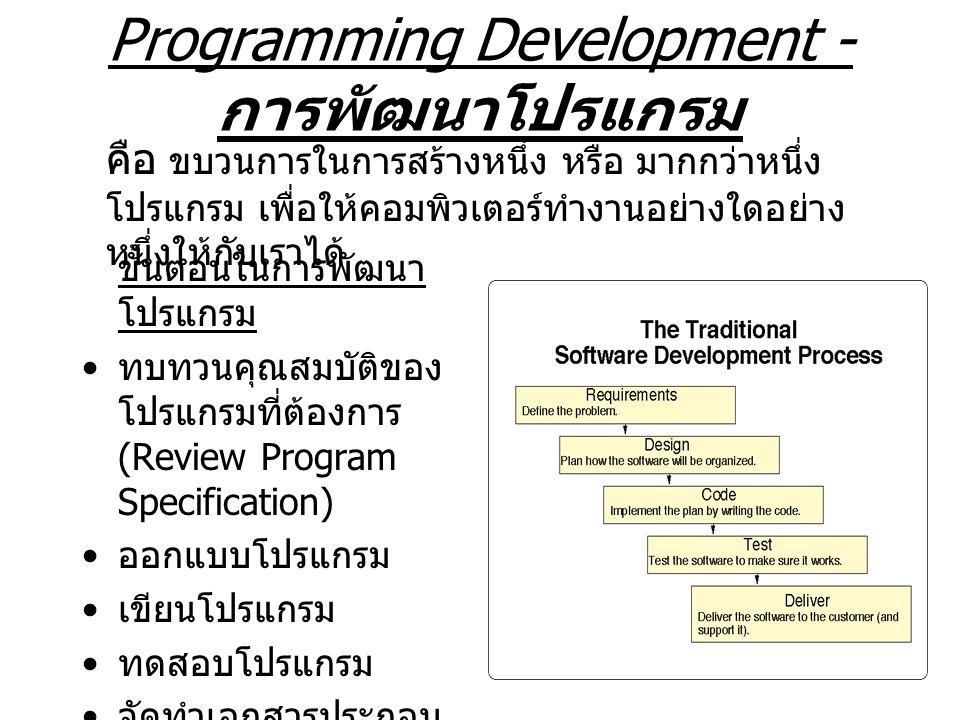 การทบทวนคุณสมบัติ เป็นการทำความเข้าใจกับปัญหา (Define the problem) เพื่อทบทวนคุณสมบัติที่เรา ต้องการได้จากโปรแกรม ต้องอาศัยความเข้าใจร่วมกันระหว่างผู้ ต้องการใช้โปรแกรม และ ผู้เขียนโปรแกรม (Programmer) เป็นขบวนการที่ Programmer จะต้อง วิเคราะห์ว่าสิ่งใดที่จะเป็น Output ขั้น สุดท้ายของโปรแกรม Programmer จะต้องวิเคราะห์ด้วยว่า Input ที่จำเป็น และ Input ที่มีให้นั้นมีอะไรบ้าง