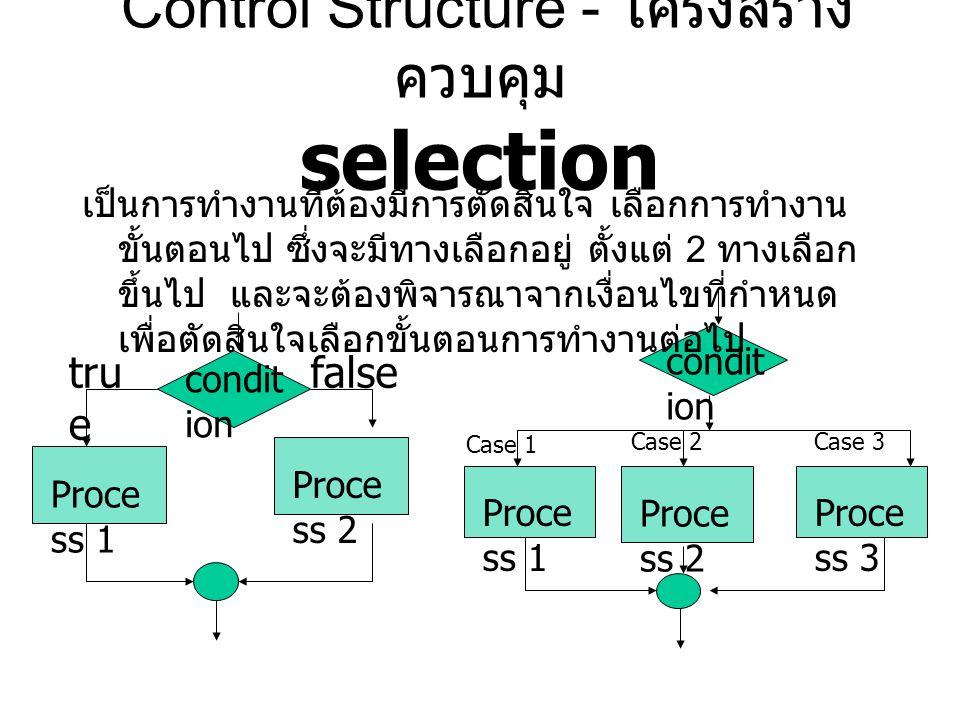 Proce ss 1 tru e false condit ion Proce ss 1 Proce ss 3 Proce ss 2 condit ion Case 2Case 3 Control Structure - โครงสร้าง ควบคุม selection เป็นการทำงาน