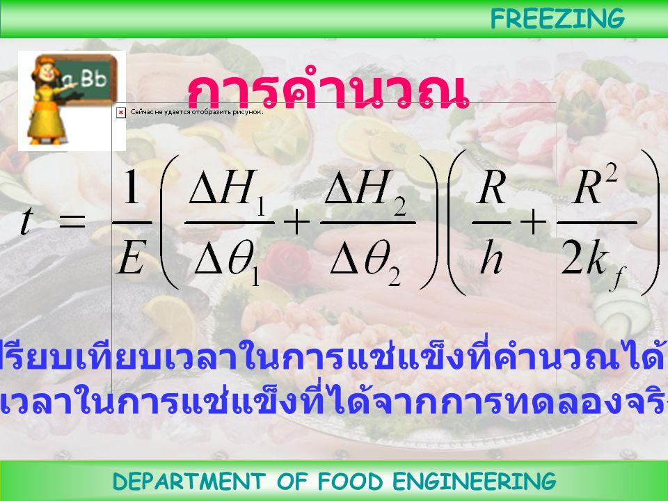 DEPARTMENT OF FOOD ENGINEERING FREEZING ตัวอย่างกราฟ FREEZING CURVE