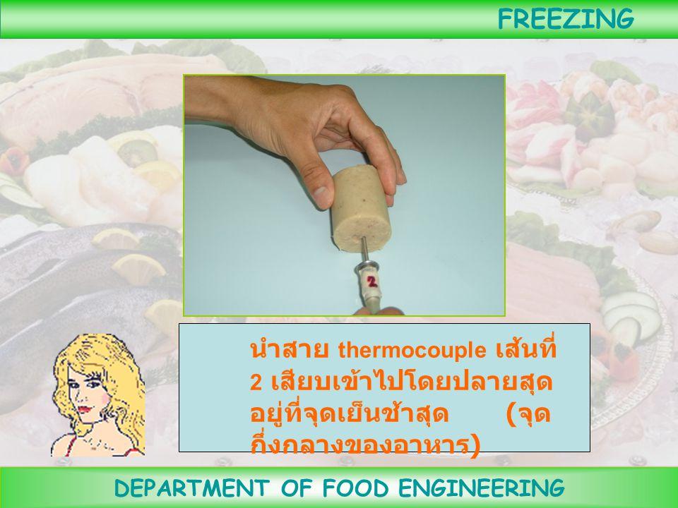 DEPARTMENT OF FOOD ENGINEERING FREEZING สุ่มอาหารตัวอย่างไปวิเคราะห์หาปริมาณความชื้น โปรตีน ไขมัน เถ้า แร่ธาตุ และคาร์โบไฮเดรต ชั่งน้ำหนักและหา ปริมาต