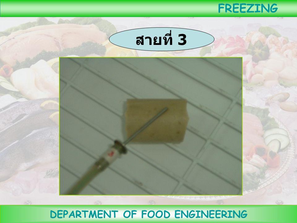 DEPARTMENT OF FOOD ENGINEERING FREEZING นำสาย thermocouple เส้นที่ 2 เสียบเข้าไปโดยปลายสุด อยู่ที่จุดเย็นช้าสุด ( จุด กึ่งกลางของอาหาร )