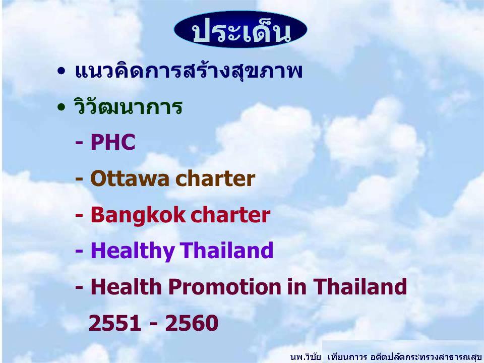 ประเด็น แนวคิดการสร้างสุขภาพ วิวัฒนาการ - PHC - Ottawa charter - Bangkok charter - Healthy Thailand - Health Promotion in Thailand 2551 - 2560