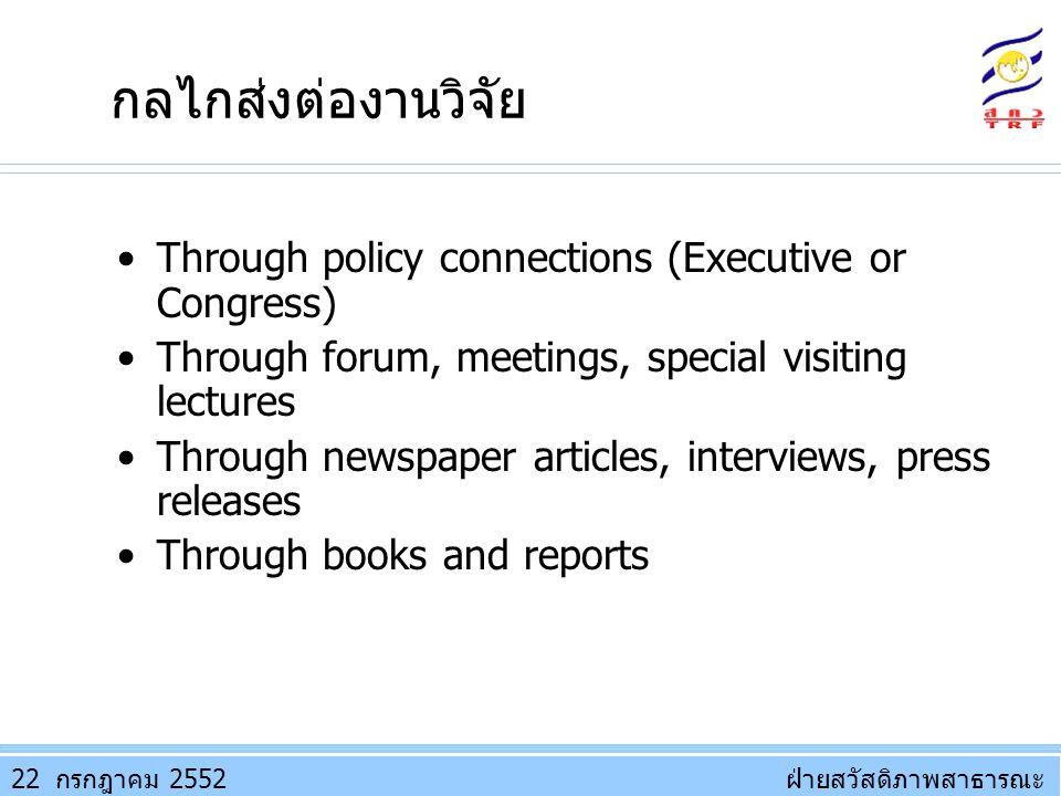 ฝ่ายสวัสดิภาพสาธารณะฝ่ายสวัสดิภาพสาธารณะ กลไกส่งต่องานวิจัย Through policy connections (Executive or Congress) Through forum, meetings, special visiti