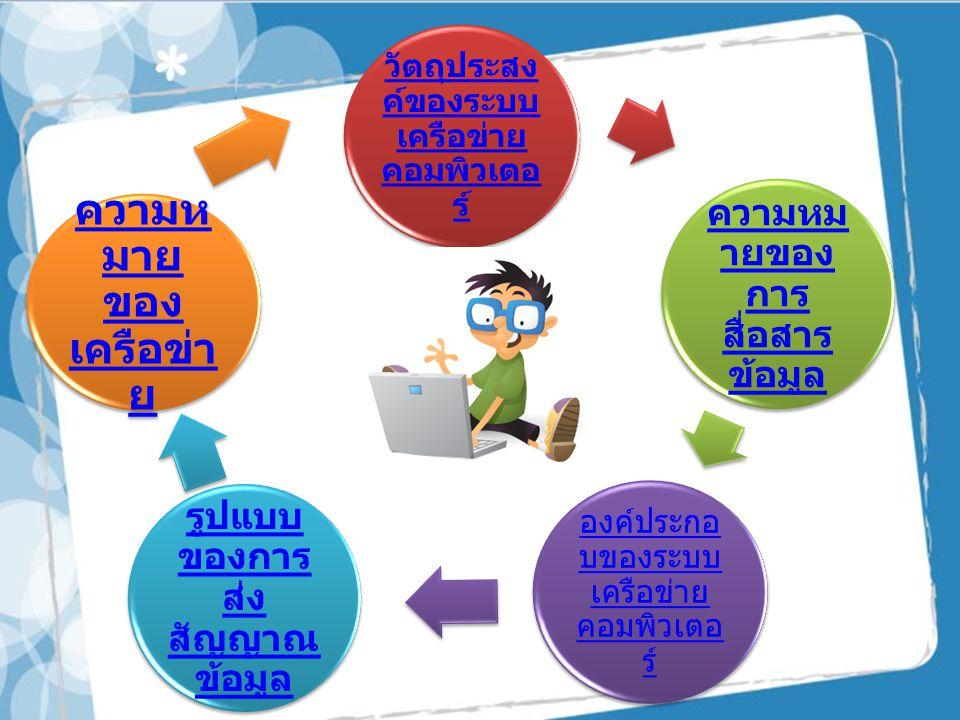 วัตถุประสง ค์ของระบบ เครือข่าย คอมพิวเต อร์ ความหม ายของ การ สื่อสาร ข้อมูล องค์ประกอ บของระบบ เครือข่าย คอมพิวเตอ ร์ รูปแบบ ของการ ส่ง สัญญาณ ข้อมูล ความห มาย ของ เครือข่า ย