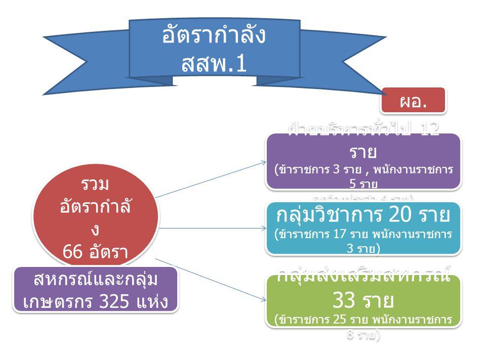 ข้าราชกา ร 9 ราย ข้าราชกา ร 9 ราย ข้าราชก าร 8 ราย ข้าราชก าร 8 ราย ข้าราชกา ร 8 ราย ข้าราชกา ร 8 ราย อัตรากำลัง กลุ่มส่งเสริมสหกรณ์ ดูแลสหกรณ์และกลุ่มเกษตรกร 325 แห่ง ( ข้าราชการ 25 ราย + พนักงาน ราชการ 8 ราย ) พนักงาน ราชการ 3 ราย พนักงาน ราชการ 3 ราย พนักงาน ราชการ 3 ราย พนักงาน ราชการ 3 ราย พนักงาน ราชการ 2 ราย พนักงาน ราชการ 2 ราย กสส.