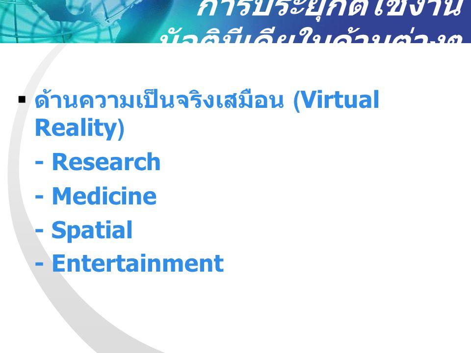 การประยุกต์ใช้งาน มัลติมีเดียในด้านต่างๆ  ด้านความเป็นจริงเสมือน (Virtual Reality) - Research - Medicine - Spatial - Entertainment