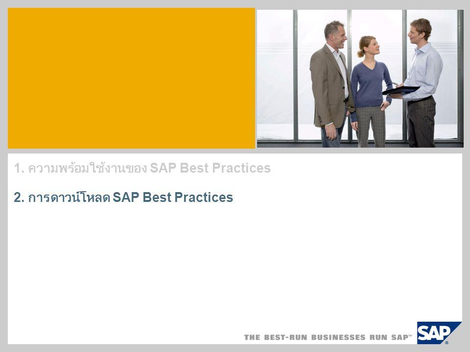 1. ความพร้อมใช้งานของ SAP Best Practices 2. การดาวน์โหลด SAP Best Practices