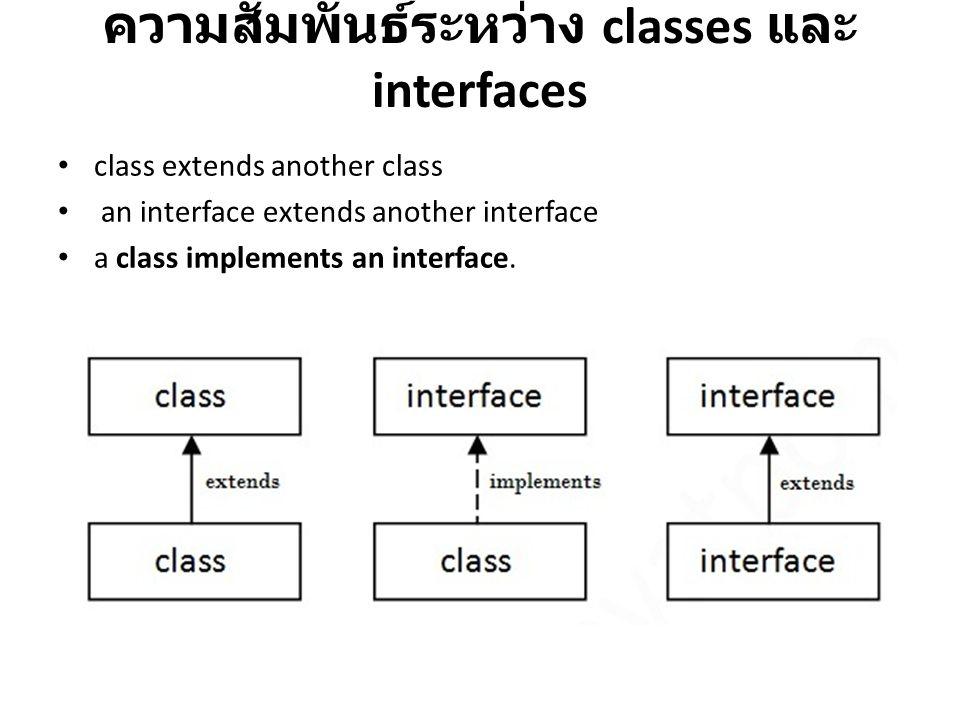 ความสัมพันธ์ระหว่าง classes และ interfaces class extends another class an interface extends another interface a class implements an interface.