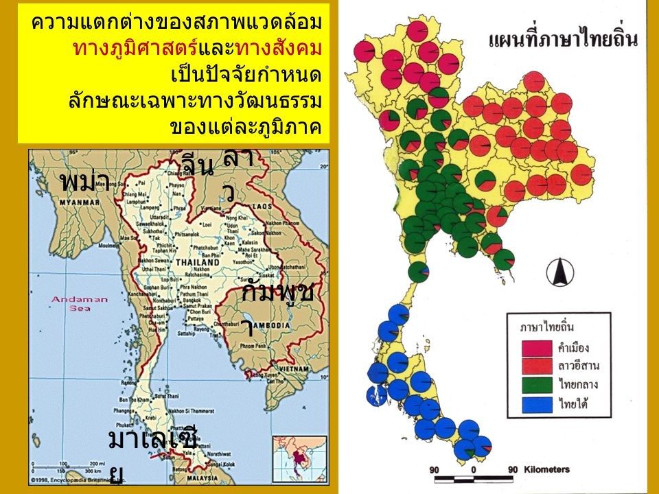 ความแตกต่างของสภาพแวดล้อม ทางภูมิศาสตร์และทางสังคม เป็นปัจจัยกำหนด ลักษณะเฉพาะทางวัฒนธรรม ของแต่ละภูมิภาค พม่า จีน กัมพูช า มาเลเซี ย ลา ว