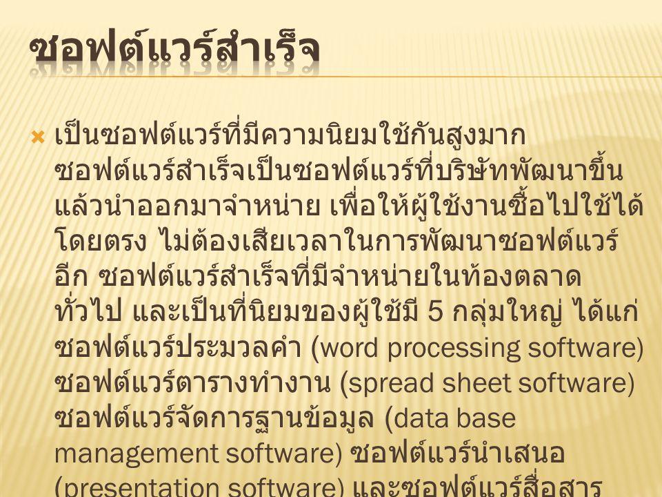  เป็นซอฟต์แวร์ที่มีความนิยมใช้กันสูงมาก ซอฟต์แวร์สำเร็จเป็นซอฟต์แวร์ที่บริษัทพัฒนาขึ้น แล้วนำออกมาจำหน่าย เพื่อให้ผู้ใช้งานซื้อไปใช้ได้ โดยตรง ไม่ต้องเสียเวลาในการพัฒนาซอฟต์แวร์ อีก ซอฟต์แวร์สำเร็จที่มีจำหน่ายในท้องตลาด ทั่วไป และเป็นที่นิยมของผู้ใช้มี 5 กลุ่มใหญ่ ได้แก่ ซอฟต์แวร์ประมวลคำ (word processing software) ซอฟต์แวร์ตารางทำงาน (spread sheet software) ซอฟต์แวร์จัดการฐานข้อมูล (data base management software) ซอฟต์แวร์นำเสนอ (presentation software) และซอฟต์แวร์สื่อสาร ข้อมูล (data communication software)