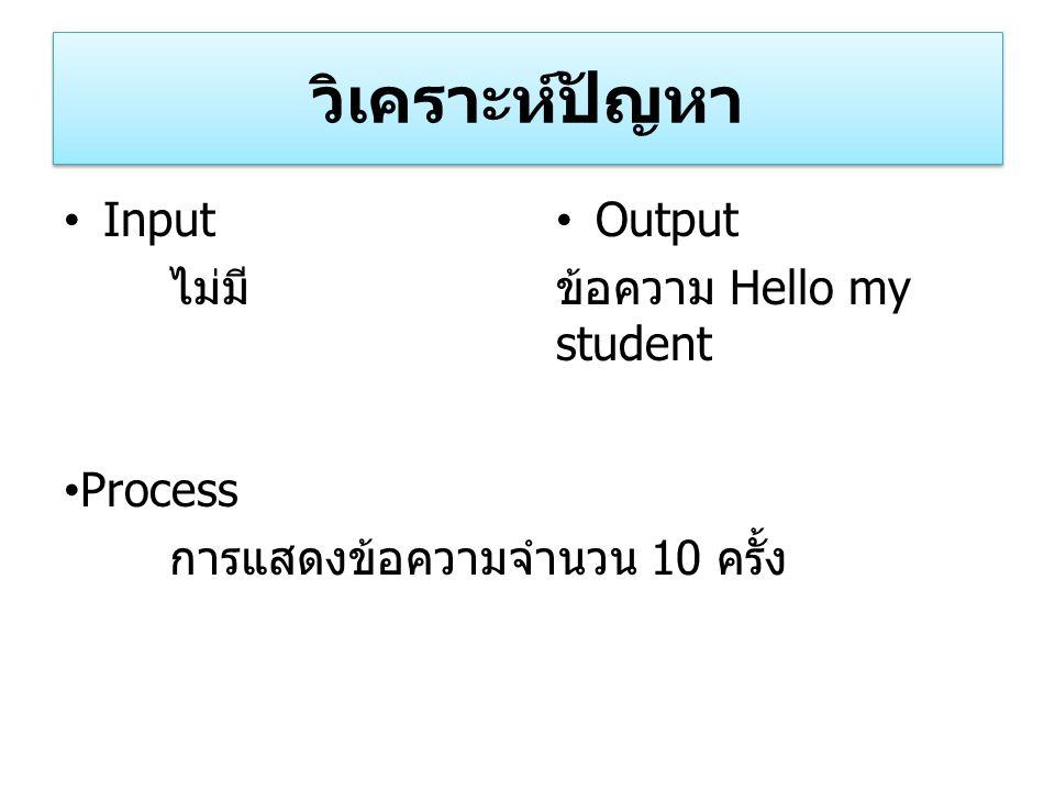 วิเคราะห์ปัญหา Input ไม่มี Process การแสดงข้อความจำนวน 10 ครั้ง Output ข้อความ Hello my student