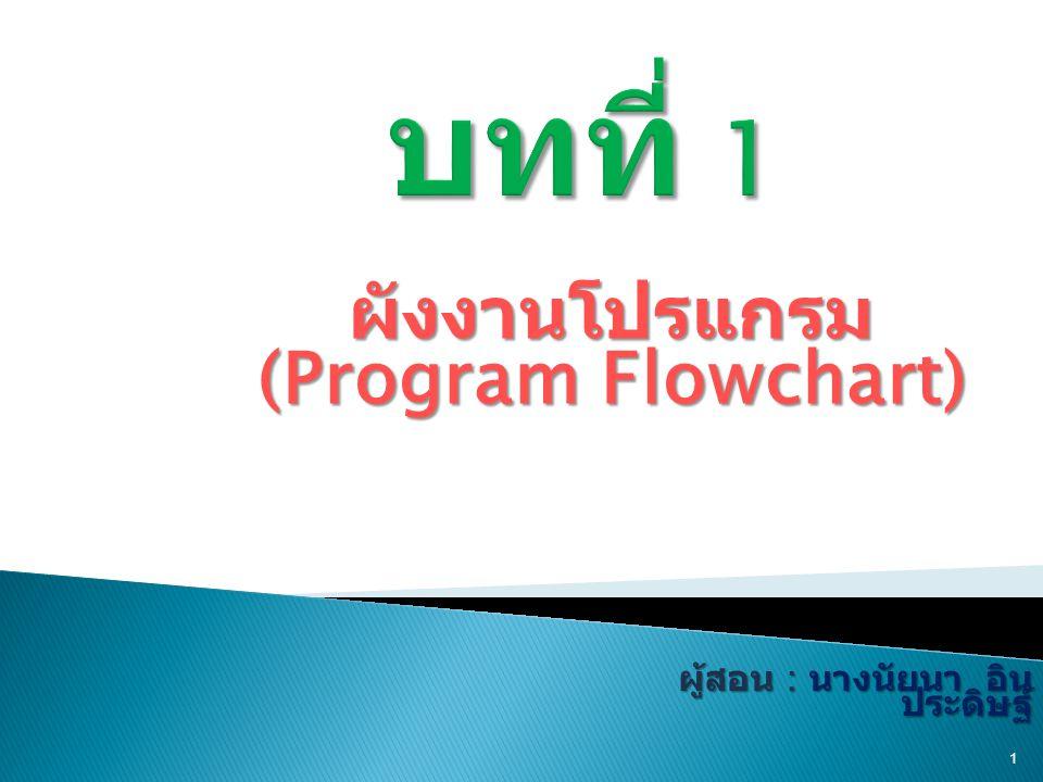 ผังงานโปรแกรม (Program Flowchart) 1 ผู้สอน : นางนัยนา อิน ประดิษฐ์