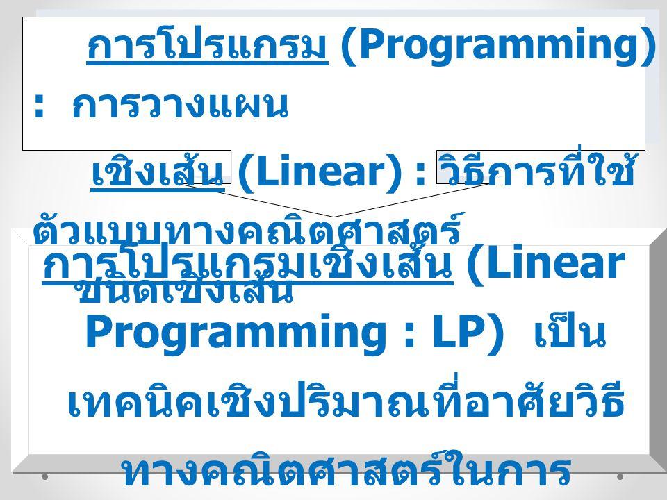 การโปรแกรม (Programming) : การวางแผน เชิงเส้น (Linear) : วิธีการที่ใช้ ตัวแบบทางคณิตศาสตร์ ชนิดเชิงเส้น การโปรแกรมเชิงเส้น (Linear Programming : LP) เ