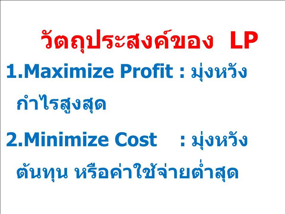 วัตถุประสงค์ของ LP 1.Maximize Profit : มุ่งหวัง กำไรสูงสุด 2.Minimize Cost : มุ่งหวัง ต้นทุน หรือค่าใช้จ่ายต่ำสุด