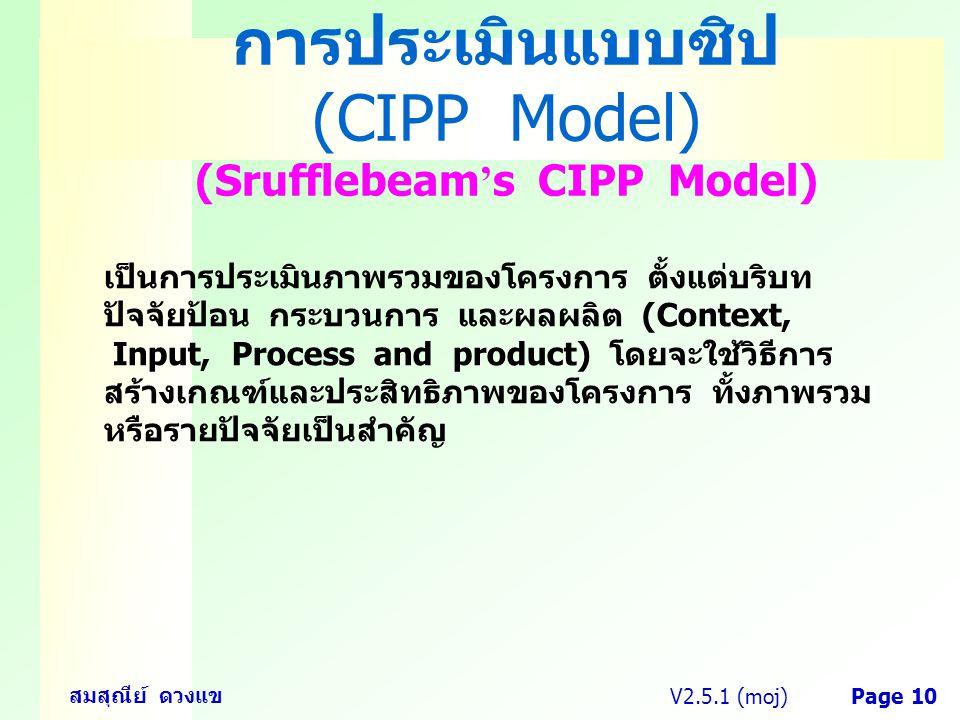 V2.5.1 (moj) สมสุณีย์ ดวงแข Page 10 การประเมินแบบซิป (CIPP Model) (Srufflebeam ' s CIPP Model) เป็นการประเมินภาพรวมของโครงการ ตั้งแต่บริบท ปัจจัยป้อน