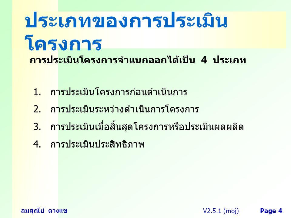 V2.5.1 (moj) สมสุณีย์ ดวงแข Page 4 ประเภทของการประเมิน โครงการ การประเมินโครงการจำแนกออกได้เป็น 4 ประเภท 1.การประเมินโครงการก่อนดำเนินการ 2.การประเมิน