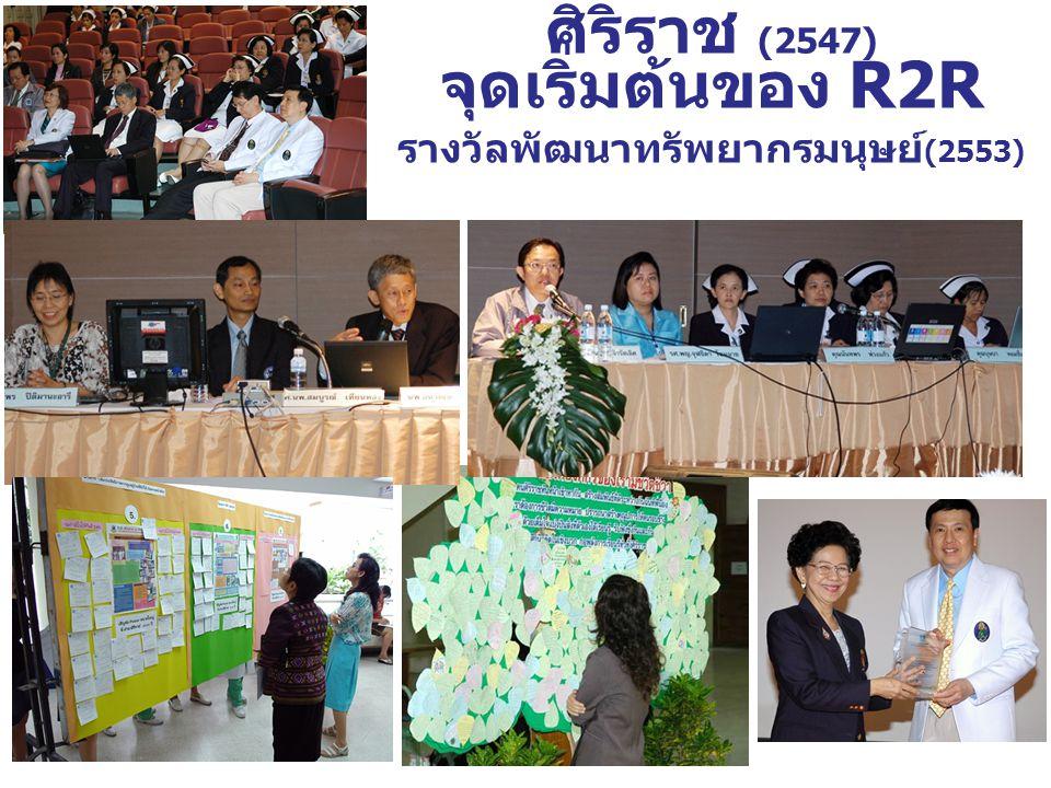 ศิริราช (2547) จุดเริ่มต้นของ R2R รางวัลพัฒนาทรัพยากรมนุษย์ (2553)