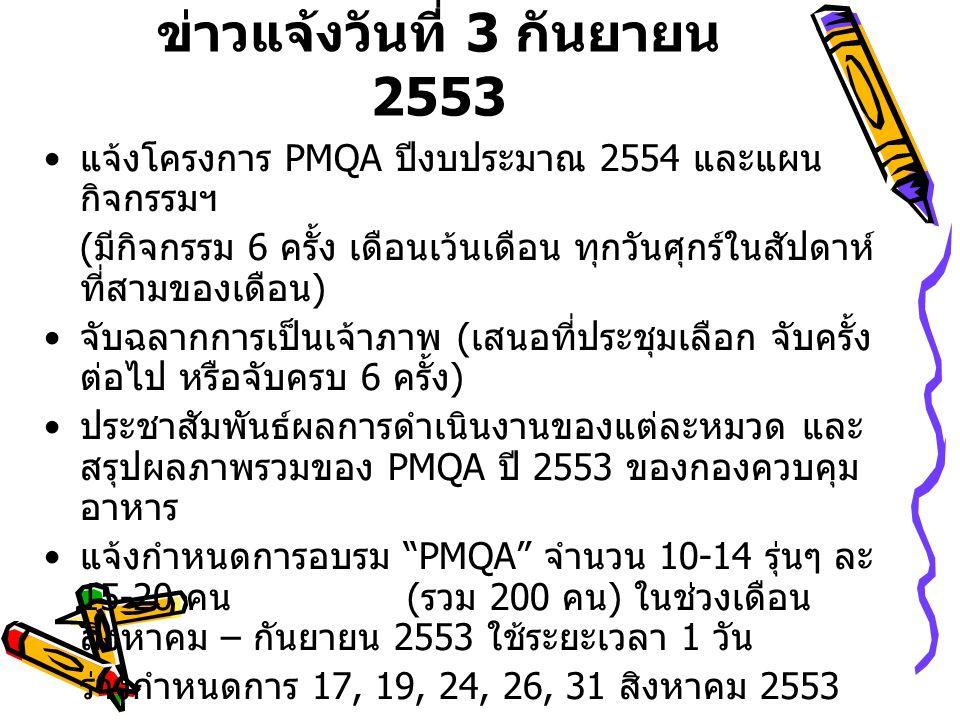 ข่าวแจ้งวันที่ 3 กันยายน 2553 แจ้งโครงการ PMQA ปีงบประมาณ 2554 และแผน กิจกรรมฯ ( มีกิจกรรม 6 ครั้ง เดือนเว้นเดือน ทุกวันศุกร์ในสัปดาห์ ที่สามของเดือน ) จับฉลากการเป็นเจ้าภาพ ( เสนอที่ประชุมเลือก จับครั้ง ต่อไป หรือจับครบ 6 ครั้ง ) ประชาสัมพันธ์ผลการดำเนินงานของแต่ละหมวด และ สรุปผลภาพรวมของ PMQA ปี 2553 ของกองควบคุม อาหาร แจ้งกำหนดการอบรม PMQA จำนวน 10-14 รุ่นๆ ละ 15-20 คน ( รวม 200 คน ) ในช่วงเดือน สิงหาคม – กันยายน 2553 ใช้ระยะเวลา 1 วัน ร่างกำหนดการ 17, 19, 24, 26, 31 สิงหาคม 2553 2, 7,9,14, 16, 21, 23, 28, 30 กันยายน 2553 แจ้งเวียนกำหนดการและให้ทุกคนแจ้งตอบรับการ เข้าอบรม ( โดยกำหนดวันที่จะเข้ารับการอบรม ตาม สะดวก )