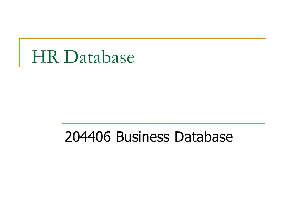HR Database 204406 Business Database