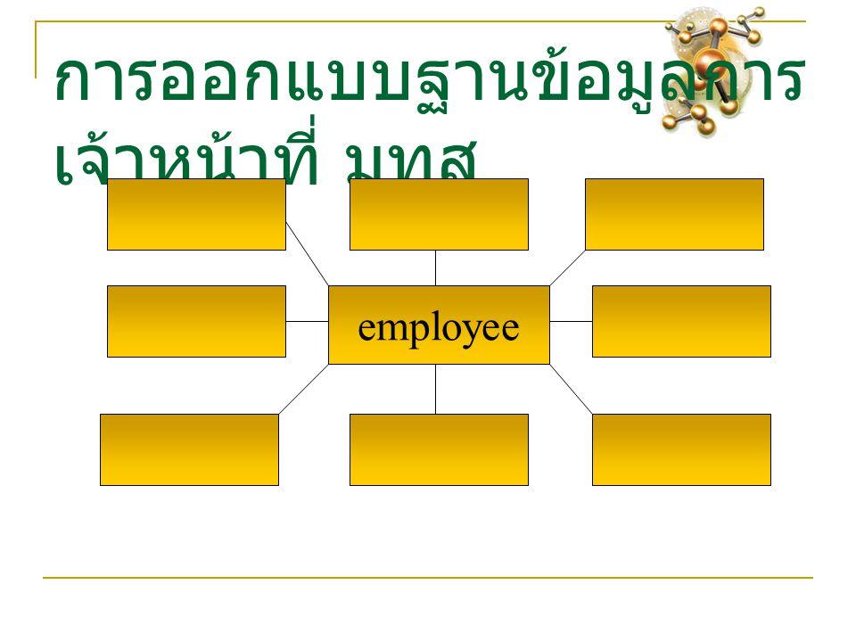 การออกแบบฐานข้อมูลการ เจ้าหน้าที่ มทส employee